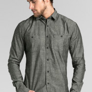 TRVS Chambray LS Dark Gray