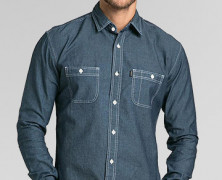 TRVS Chambray LS Blue Black