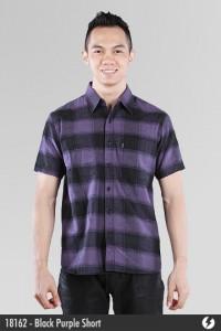 Kemeja Flannel - Black Purple Short - 18162