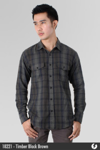 Kemeja Flannel - Timber Black Brown - 18221